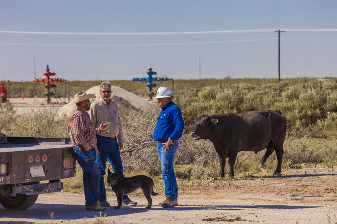 SM Energy, Permian basin. Sweetie Peck. Tejay Simpson with Stan Smith, Rancher, David Dick, Ranch Foreman and Boo the ranch dog.